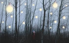 Обои лес, девушка, свет, лампы