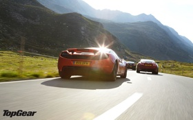 Картинка mclaren, mustang, top gear, дорога, jaguar, горы, суперкары