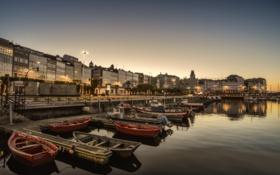Картинка дома, лодки, утро, Испания, набережная