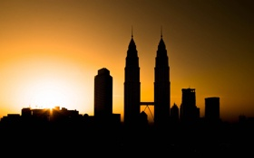 Обои небо, закат, город, башня, силуэт, Малайзия, Куала-Лумпур
