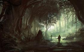 Обои лес, река, арт, солдаты, указатели