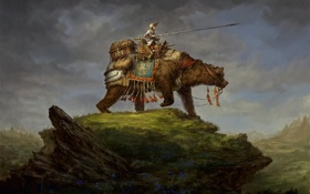 Обои медведь, воин, холм, арт, наездник, броня, копьё