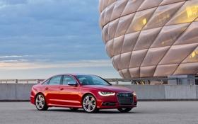 Обои Audi, Красный, Германия, Седан, Автомобиль, Стадион