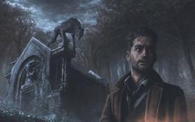 Картинка кладбище, лес, werewolf, ночь, мужчина, склеп, оборотень