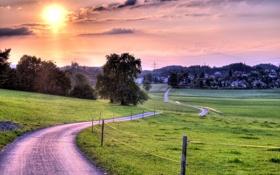 Обои закат, пейзаж, забор, дорога