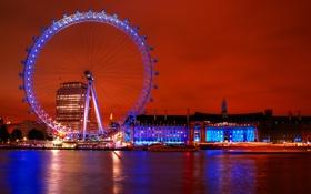 Обои южный берег Темзы, район Ламбет, «Лондонский глаз», набережная, EDF Energy London Eye, вечер, огни