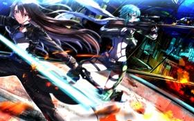 Картинка оружие, девушки, аниме, арт, вертолет, сражение, sword art online