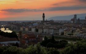 Обои небо, солнце, закат, горы, река, дома, Италия