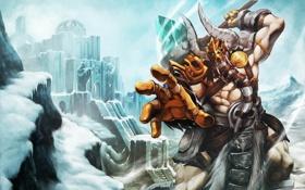Обои снег, доспехи, молот, Воин, рога