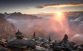 Картинка горы, камни, утро