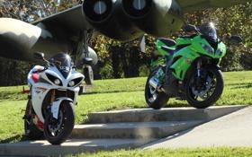 Обои белый, зеленый, green, мотоциклы, white, суперспорт, yamaha