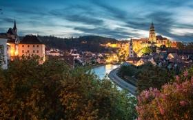 Обои город, огни, река, весна, вечер, Чехия, Český Krumlov