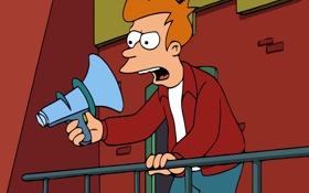 Обои стена, Футурама, Futurama, фрай, громкоговоритель, Philip J. Fry