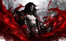 Обои злость, кровь, волосы, монстры, вампир, плащ, нежить