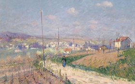 Картинка дорога, пейзаж, дома, картина, виноградник, Гюстав Луазо, Весна в Иль-де-Франс