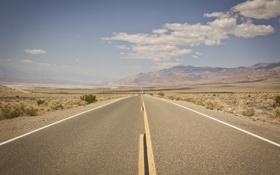 Картинка дорога, небо, облака, горы, пустыня, горизонт