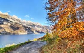 Обои осень, пейзаж, горы, природа, дороги, Озеро, road