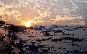 Обои закат, окно, зима, узор, мороз