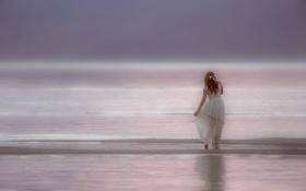 Картинка настроение, океан, платье, рыжая, рыжеволосая