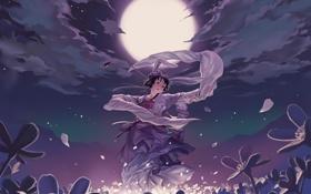 Обои девушка, цветы, ночь, танец, аниме