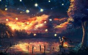 Картинка небо, звезды, ночь, озеро, девочка