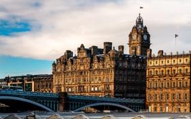 Картинка мост, город, здания, дома, Шотландия, архитектура, Scotland