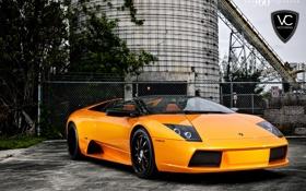 Обои оранжевый, Lamborghini, ламборджини, murcielago, orange, 360 three sixty forged, LP640