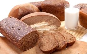 Обои батон, молоко, bread, выпечка, пшеница, хлеб