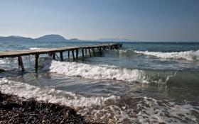 Картинка мост, волны, море