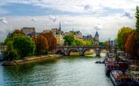 Обои деревья, мост, река, Франция, Париж, дома, катера