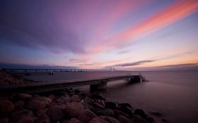 Картинка закат, мост, вечер, пирс, залив