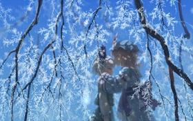 Картинка зима, снег, аниме, art, Touhou, Konpaku Youmu, Saigyouji Yuyuko