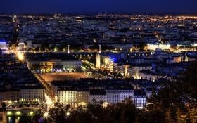 Обои ночь, город, Франция, здания, дома, панорама, архитектура