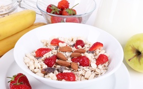 Картинка хлопья, cereals, мюсли с молоком и фруктами и свежими ягодами, Здоровый завтрак