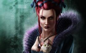 Обои прическа, Девушка, ленты, украшения, воротник, кошка