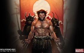 Обои самурай, comics, marvel, Wolverine, супергерой, комикс, Логан