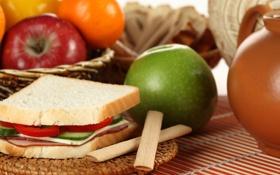 Обои яблоки, хлеб, фрукты, бутерброд, овощи