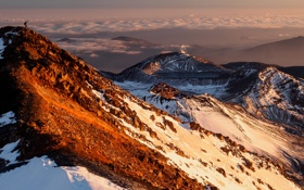 Картинка sunset, cloud, mountain, snow, mount ngauruhoe