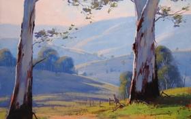 Обои дорога, деревья, пейзаж, природа, Австралия, арт, кенгуру