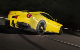 Картинка Ferrari, yellow, back, f12, berlinetta, novitec rosso