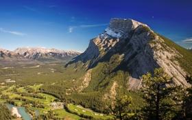 Картинка облака, река, Канада, солнечный, небо, Гора Рандл, Альберта