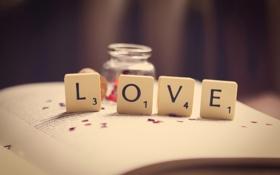 Обои макро, любовь, буквы, цифры, книга, love, слово