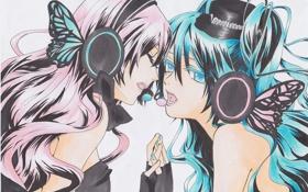Обои девушки, рисунок, руки, наушники, шляпка, vocaloid, megurine luka