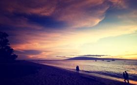 Картинка песок, море, пляж, небо, вода, пейзаж, закат
