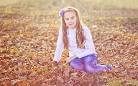 Обои малышка., осень, настроение, Дети, позитив