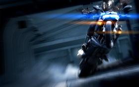 Обои огни, оружие, дым, Девушка, мотоцикл, дрифт