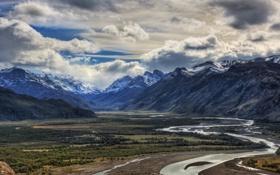 Картинка облака, горы, река, долина
