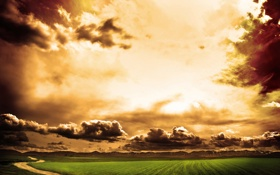 Обои дорога, поле, небо, облака, природа, пути, путь