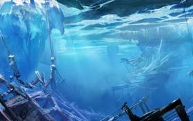 Обои под водой, heerlo, Neal Hanson, льдины, арт, обломки, корабль