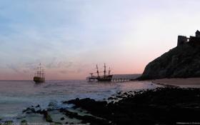 Обои море, камни, скалы, корабли, утро, пирс, ricardo garces